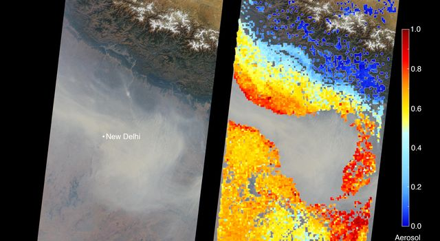 Severe Air Pollution in New Delhi View by NASA