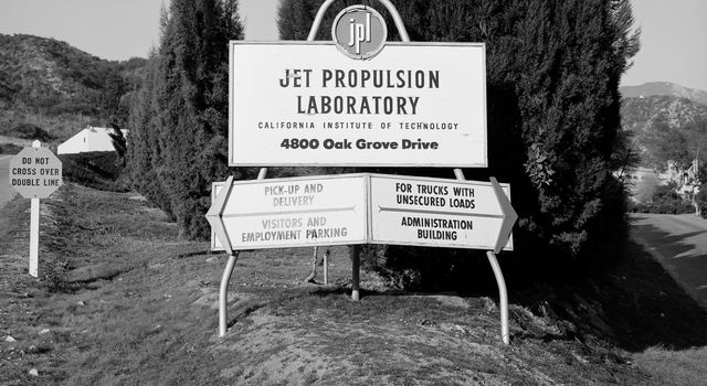 This archival picture shows what greeted visitors to the Jet Propulsion Laboratory in December 1957, before NASA was created and the lab became one of its centers.