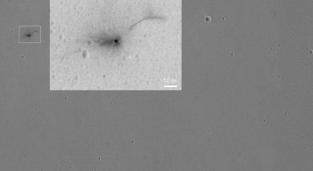 This Oct. 25, 2016, image shows the area where the European Space Agency's Schiaparelli test lander reached the surface of Mars. This image was taken by NASA's Mars Reconnaissance Orbiter.