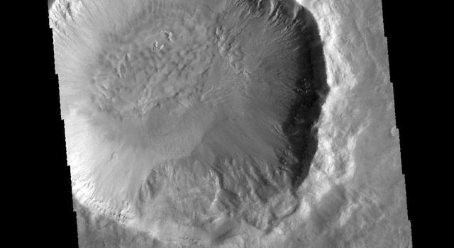 This image captured by NASA's 2001 Mars Odyssey spacecraft is of Palikir Crater in Terra Sirenum.