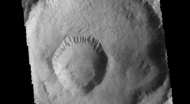 The smaller crater within the larger crater is called Gasa Crater, as shown in this image from NASA's 2001 Mars Odyssey spacecraft.