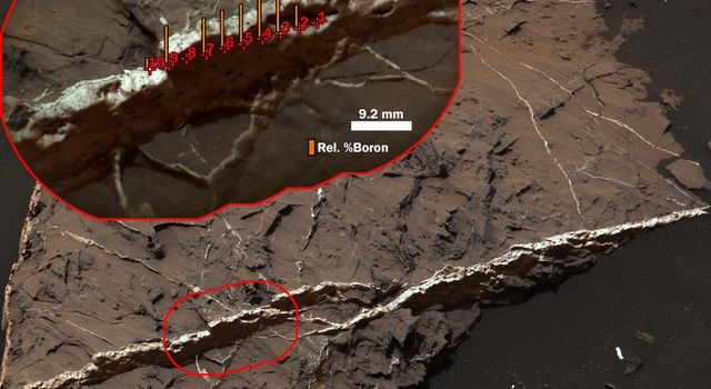 This two-part illustration shows the context of the erosion-resistant, raised vein, called 'Catabola,' in an image from NASA's Curiosity's Mast Camera. The highest concentration of boron measured on Mars.