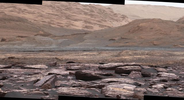 Color Variations on Mount Sharp, Mars (White Balanced)