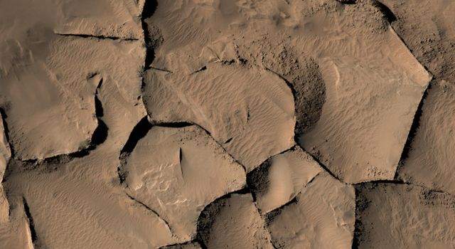 Blade-Like Martian Walls Outline Polygons