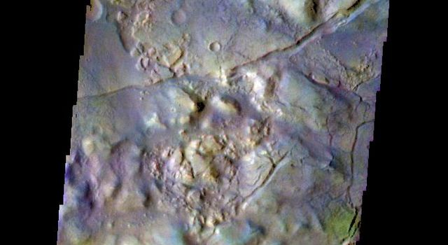 The THEMIS camera contains 5 filters. The data from different filters can be combined in multiple ways to create a false color image. This image from NASA's 2001 Mars Odyssey spacecraft shows part of Gorgonum Chaos.