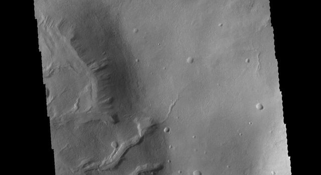 This image captured by NASA's 2001 Mars Odyssey spacecraft shows several channels in and around unnamed craters in Noachis Terra.