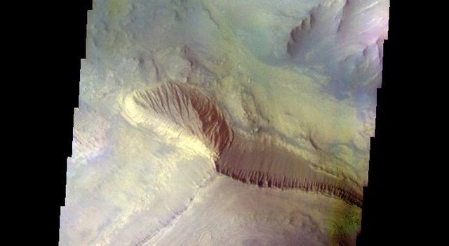 The THEMIS camera contains 5 filters. The data from different filters can be combined in multiple ways to create a false color image. This image from NASA's 2001 Mars Odyssey spacecraft shows part of the interior of Coprates Chasma.