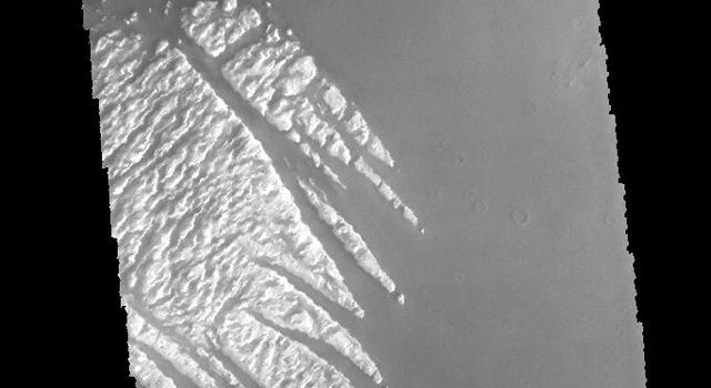 This image captured by NASA's 2001 Mars Odyssey spacecraft shows part of the bright material on the floor of Pollack Crater.