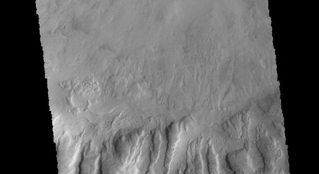 This image captured by NASA's 2001 Mars Odyssey spacecraft shows part of an unnamed crater in Noachis Terra.