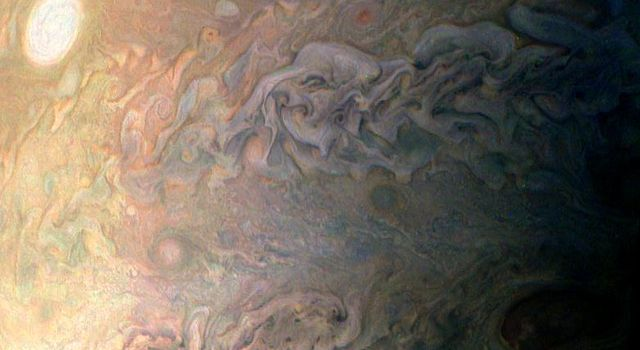 This amateur-processed image was taken on Dec. 11, 2016, as NASA's Juno spacecraft performed its third close flyby of Jupiter. citizen scientist (Eric Jorgensen) cropped this JunoCam image, enhanced the color to draw attention to Jupiter's swirling clouds
