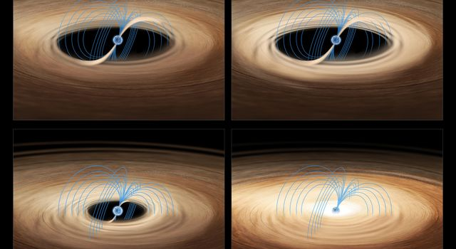 These four images show an artist's impression of gas accreting onto the neutron star in the binary system MXB 1730-335, also known as the 'Rapid Burster.'
