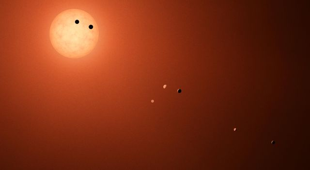 This illustration shows the seven TRAPPIST-1 planets as they might look as viewed from Earth using a fictional, incredibly powerful telescope. The sizes and relative positions are correctly to scale.