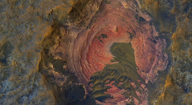 Much of Mars' surface is covered by fine-grained materials that hide the bedrock, but in this scene from NASA's Mars Reconnaissance Orbiter, the bedrock is well exposed except where covered by sand dunes.