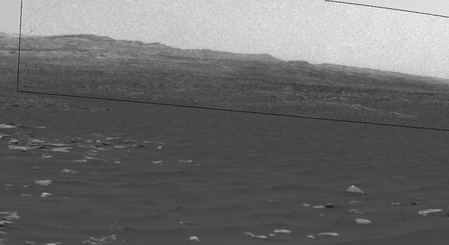 This frame from a sequence of images shows a dust-carrying whirlwind, called a dust devil, on lower Mount Sharp inside Gale Crater, as viewed by NASA's Curiosity Mars Rover during the summer afternoon of Feb. 18, 2017.