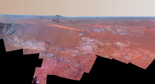 Mars Rover Opportunity's Panorama of 'Rocheport' (Enhanced Color)