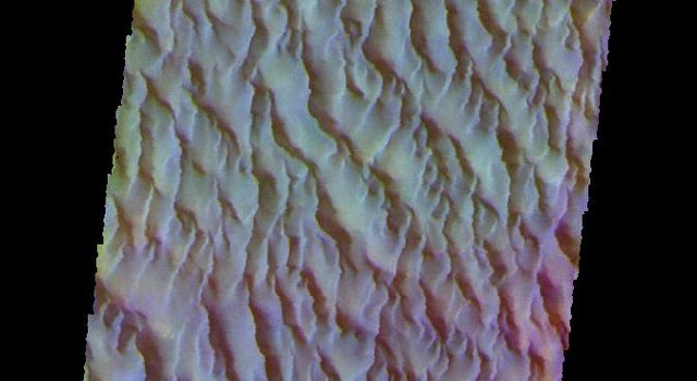 The THEMIS camera contains 5 filters. The data from different filters can be combined in multiple ways to create a false color image. This image from NASA's 2001 Mars Odyssey spacecraft shows a part of the large sand sheet on the floor of Proctor Crater.
