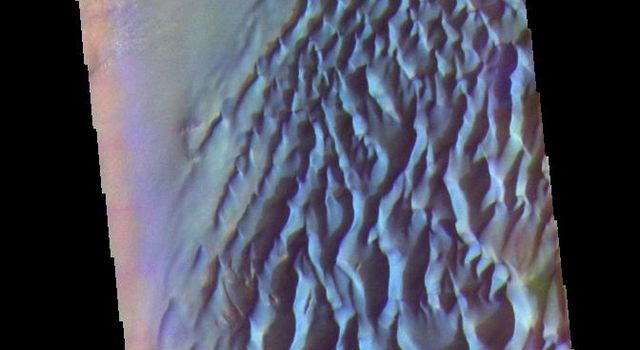 The THEMIS camera contains 5 filters. Data from different filters can be combined in many ways to create a false color image. This image from NASA's 2001 Mars Odyssey spacecraft shows part of the sand sheet with surface dune forms on Proctor Crater.
