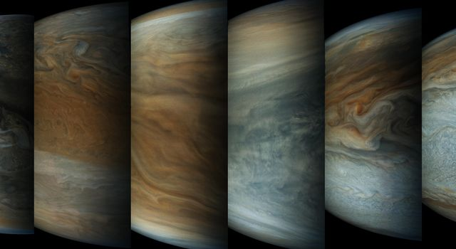This sequence of enhanced-color images shows how quickly the viewing geometry changes for NASA's Juno spacecraft as it swoops by Jupiter. The images were obtained by JunoCam.