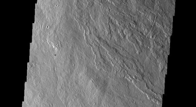 This image captured by NASA's 2001 Mars Odyssey spacecraft shows lava flows that originated from Arsia Mons.