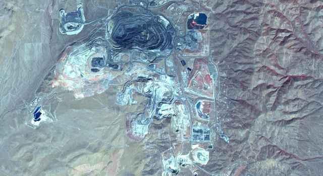 This image from NASA's Terra spacecraft shows Goldstrike in northeast Nevada, the largest gold mine in North America.