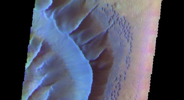 The THEMIS camera contains 5 filters. The data from different filters can be combined in multiple ways to create a false color image. This image from NASA's 2001 Mars Odyssey spacecraft shows part of the large dune form on the floor of Russell Crater.