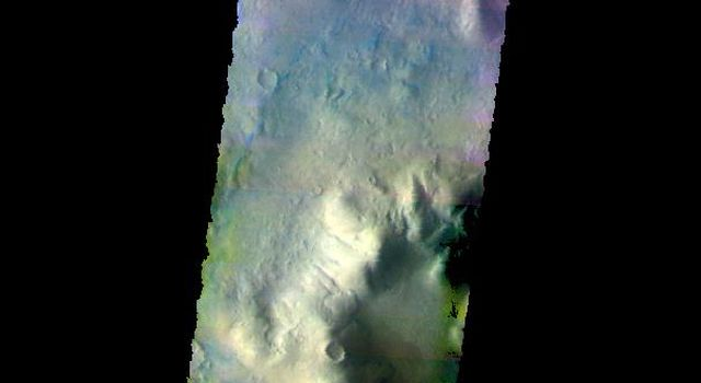 The THEMIS camera contains 5 filters. The data from different filters can be combined in multiple ways to create a false color image. This image from NASA's 2001 Mars Odyssey spacecraft shows part of the floor of Lohse Crater in Noachis Terra.