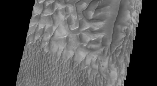 This image captured by NASA's 2001 Mars Odyssey spacecraft shows the central part of the dune field on the floor of Russell Crater.