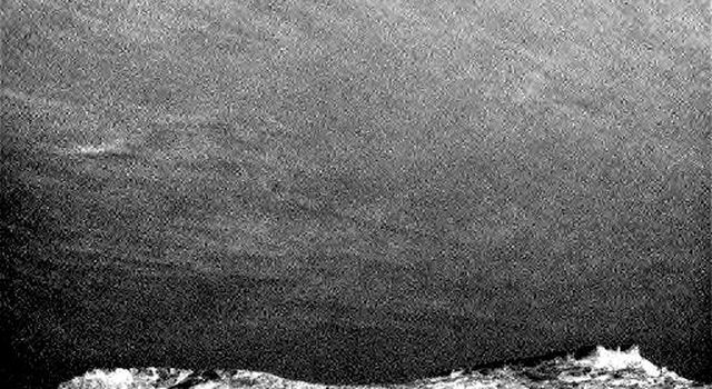 Clouds Sailing Above Martian Horizon, Enhanced