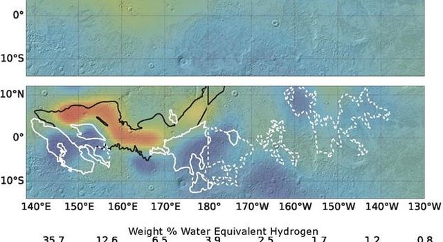 Re-analysis of data from a hydrogen-finding instrument on NASA's Mars Odyssey orbiter increased the resolution of maps of hydrogen abundance. The reprocessed data shows more 'water-equivalent hydrogen'in some parts of this equatorial region of Mars.