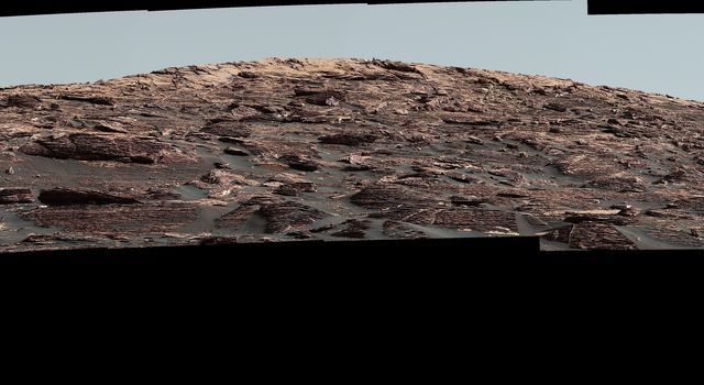 Looking Up at Layers of 'Vera Rubin Ridge' on Sol 1790