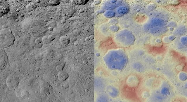 This image obtained by NASA's Dawn spacecraft shows a subtle feature on Ceres called Kwanzaa Tholus. The rounded shape of Kwanzaa Tholus is typical of tholi.