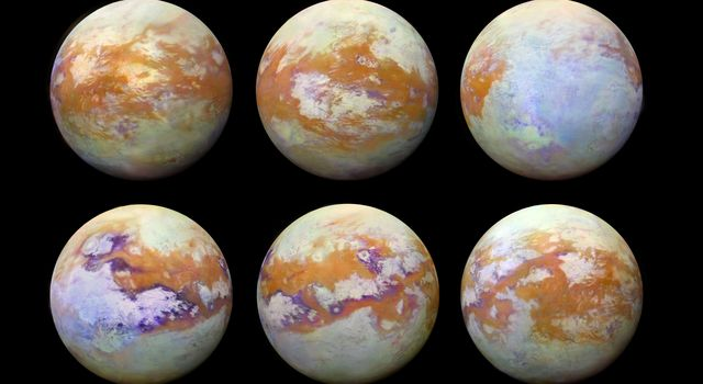These six infrared images of Saturn's moon Titan created using data acquired by the VIMS instrument onboard NASA's Cassini spacecraft represent some of the clearest, most seamless-looking global views of the icy moon's surface produced so far.