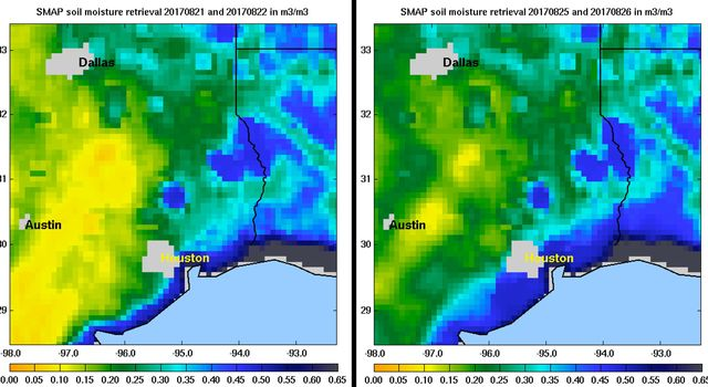 Images of soil moisture conditions in Texas near Houston, generated by NASA's Soil Moisture Active Passive (SMAP) satellite before and after the landfall of Hurricane Harvey can be used to monitor changing ground conditions due to Harvey's rainfall.
