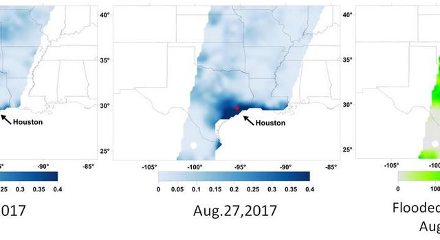 A new series of images generated with data from NASA's Soil Moisture Active Passive (SMAP) satellite illustrate the surface flooding caused by Hurricane Harvey from before its initial landfall through August 27, 2017.