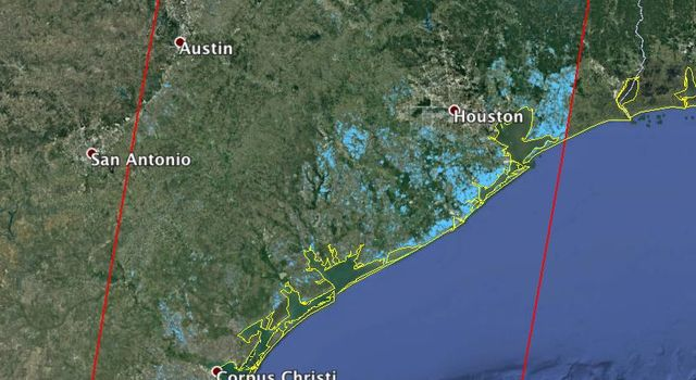 Updated NASA Satellite Flood Map of Southeastern Texas (ALOS-2 Data)