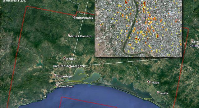 satellite radar detects damage from sept 2017 chiapas mexico quake