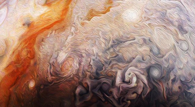 This abstract Jovian artwork used data from the JunoCam imager onboard NASA's Juno spacecraft capturing a close-up view of numerous storms in the northern hemisphere of Jupiter.