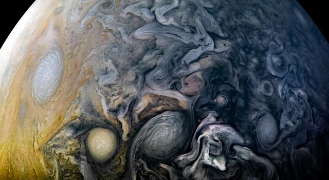 Intricate cloud patterns in the northern hemisphere of Jupiter are seen in this view taken by NASA's Juno spacecraft on April 1, 2018.