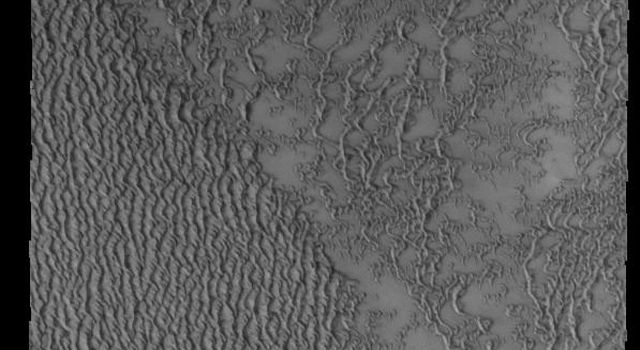 Siton Undae is a large dune field located in the northern plains near Escorial Crater. This image from NASA's 2001 Mars Odyssey spacecraft shows a cross section of the dune field.