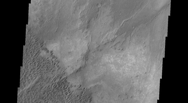This image from NASA's 2001 Mars Odyssey spacecraft shows part of the Nili Patera dune field. The paterae are calderas on the volcanic complex called Syrtis Major Planum.