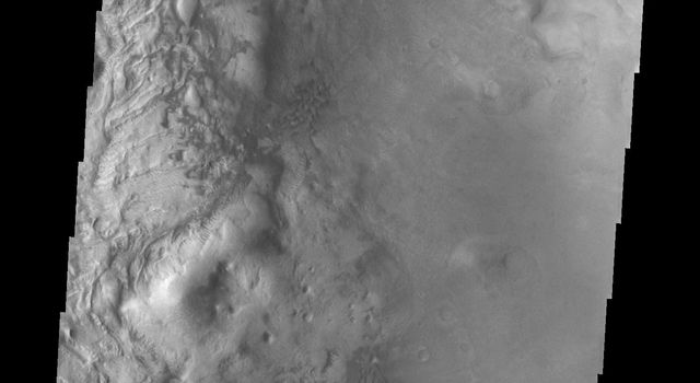 This image of Moreux Crater from NASA's 2001 Mars Odyssey spacecraft shows part of the central peak and fields of sand dunes on the crater floor surrounding the peak. This image illustrates the abundance of sand dunes located on the floor of the crater.