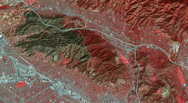 Scar from One of Los Angeles' Biggest Wildfires Imaged by NASA Satellite