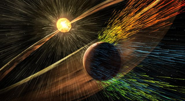 This illustration depicts charged particles from a solar storm stripping away charged particles of Mars' atmosphere, one of the processes of Martian atmosphere loss studied by NASA's MAVEN mission, beginning in 2014.