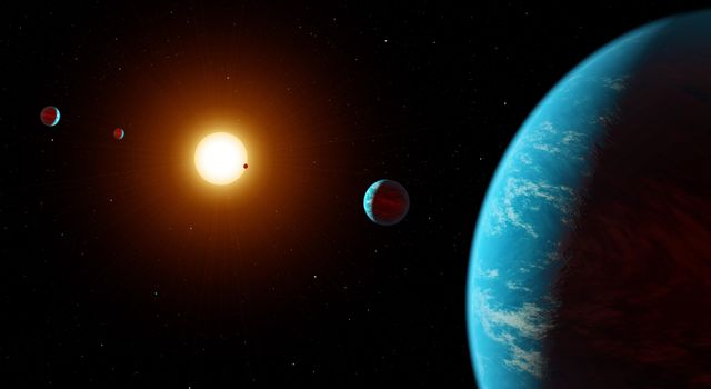 This artist concept shows the K2-138 system, the first multi-planet system discovered by citizen scientists.