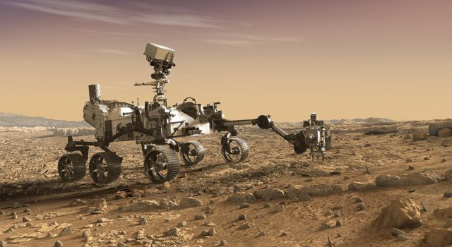 This artist's rendition depicts NASA's Mars 2020 rover studying rocks with its robotic arm. Mars 2020 will use powerful instruments to investigate rocks on Mars down to the microscopic scale of variations in texture and composition.