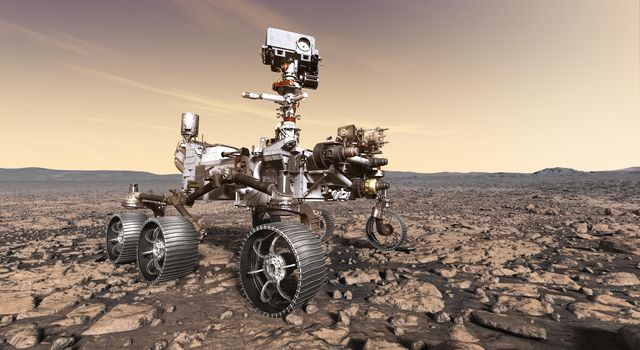 This artist's rendition depicts NASA's Mars 2020 rover studying its surroundings. Mars 2020 will use powerful instruments to investigate rocks on Mars down to the microscopic scale of variations in texture and composition.