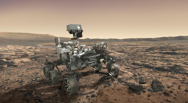 NASA's Mars 2020 rover looks at the horizon in this artist's concept. Mars 2020 will use powerful instruments to investigate rocks on Mars down to the microscopic scale of variations in texture and composition.