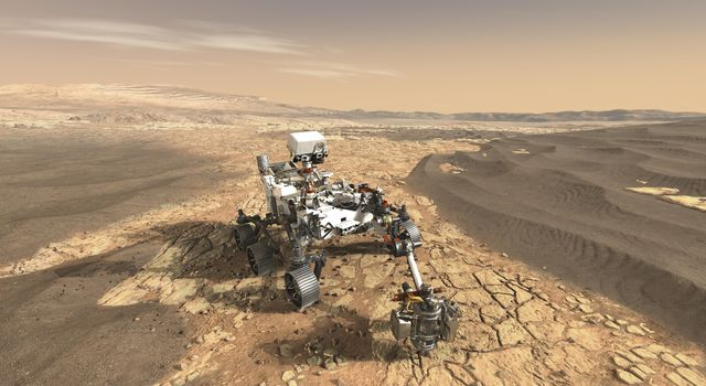 This artist's concept shows a close-up of NASA's Mars 2020 rover studying an outcrop. Mars 2020 will use powerful instruments to investigate rocks on Mars down to the microscopic scale of variations in texture and composition.