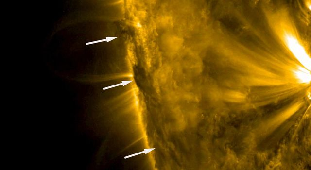 This image from NASA's Solar Dynamics Observatory shows A developing filament near the edge of the sun churned and twisted as the rotating sun brought it into clearer view over a day on Nov. 16-17, 2017.