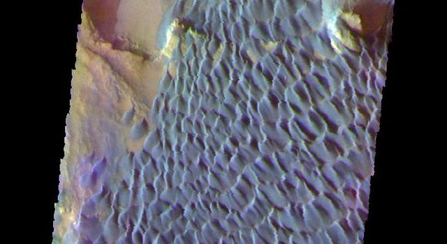 This is a false color image of Rabe Crater captured by NASA's 2001 Mars Odyssey spacecraft. In this combination of filters 'blue' typically means basaltic sand. Rabe Crater is 108 km (67 miles) across.